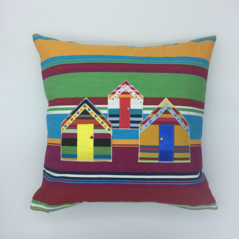 Striped square cushions with beach huts