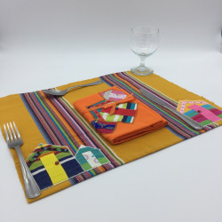 Multi striped placemat with...