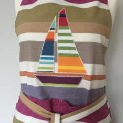 Beach Hut 'n Boats brightly striped large apron showing boat motif