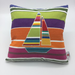 """14"""" Square Cushion with Boat"""