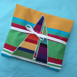 Beach Hut 'n Boats brightly striped large apron folded for posting